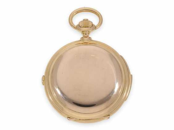 Pocket watch: Museale Le Coultre gold savonnette with minute repeater, perpetual calendar and chronograph, made for Beyer Zurich with signed box, exceptional quality, around 1900 - photo 6