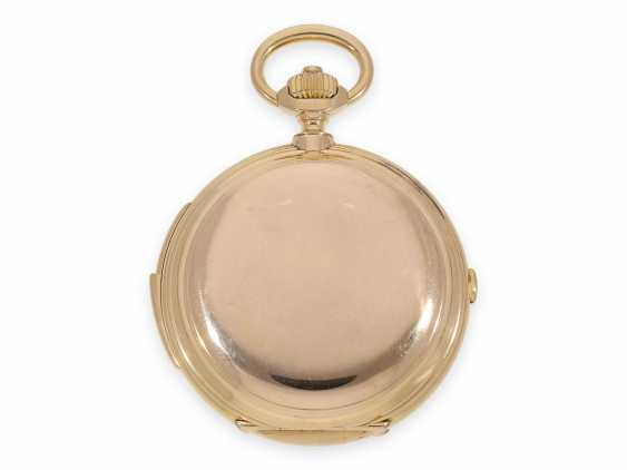 Pocket watch: Museale Le Coultre gold savonnette with minute repeater, perpetual calendar and chronograph, made for Beyer Zurich with signed box, exceptional quality, around 1900 - photo 7