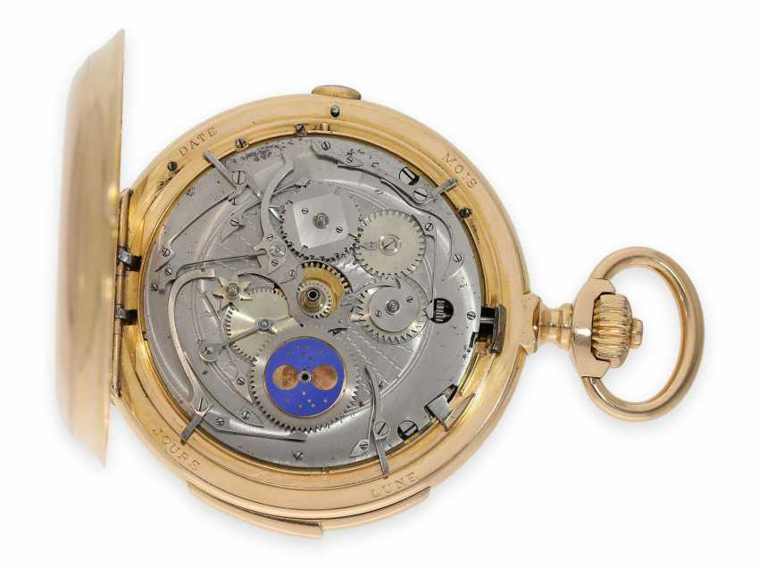 Pocket watch: Museale Le Coultre gold savonnette with minute repeater, perpetual calendar and chronograph, made for Beyer Zurich with signed box, exceptional quality, around 1900 - photo 9