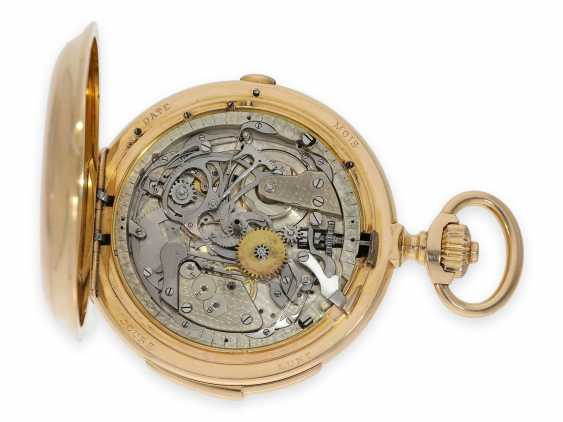 Pocket watch: Museale Le Coultre gold savonnette with minute repeater, perpetual calendar and chronograph, made for Beyer Zurich with signed box, exceptional quality, around 1900 - photo 10
