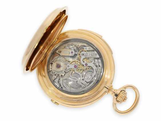 Pocket watch: Museale Le Coultre gold savonnette with minute repeater, perpetual calendar and chronograph, made for Beyer Zurich with signed box, exceptional quality, around 1900 - photo 13