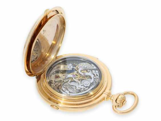 Pocket watch: Museale Le Coultre gold savonnette with minute repeater, perpetual calendar and chronograph, made for Beyer Zurich with signed box, exceptional quality, around 1900 - photo 14