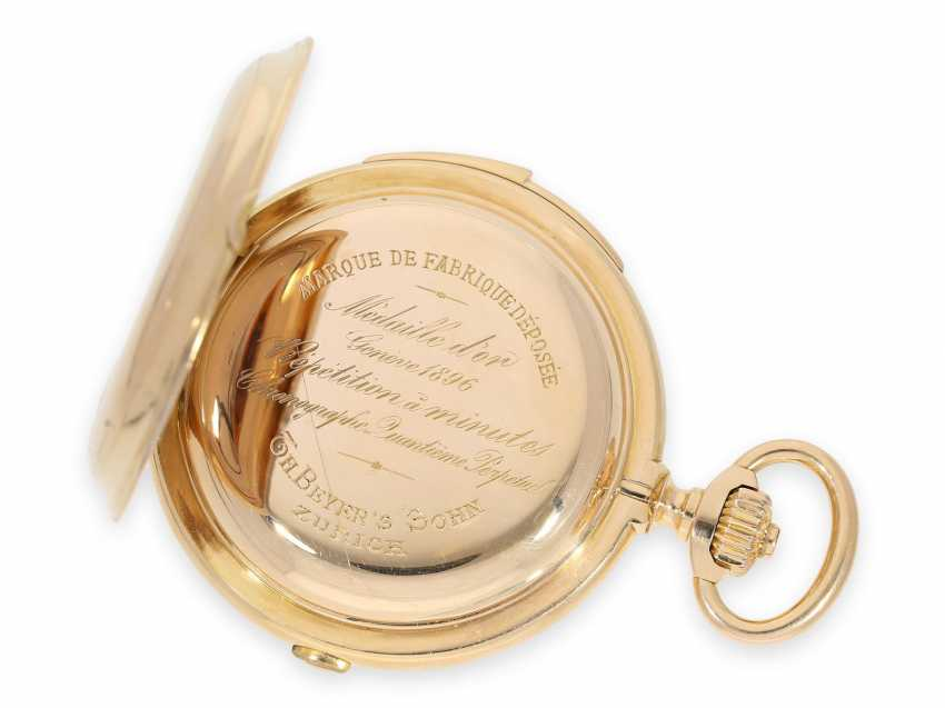 Pocket watch: Museale Le Coultre gold savonnette with minute repeater, perpetual calendar and chronograph, made for Beyer Zurich with signed box, exceptional quality, around 1900 - photo 16