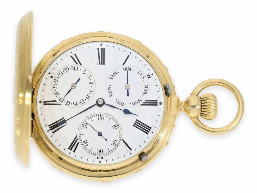 "Pocket watch: absolute rarity, museum and possibly unique Ekegren pocket chronometer ""Montre à Tact"" with calendar, no. 14546, Geneva around 1870 - photo 1"