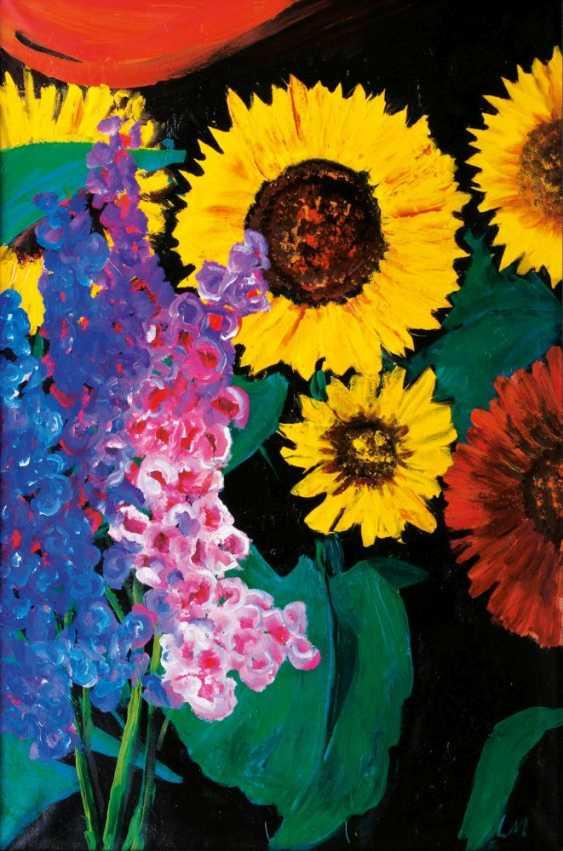 Sunflower and delphinium - photo 1