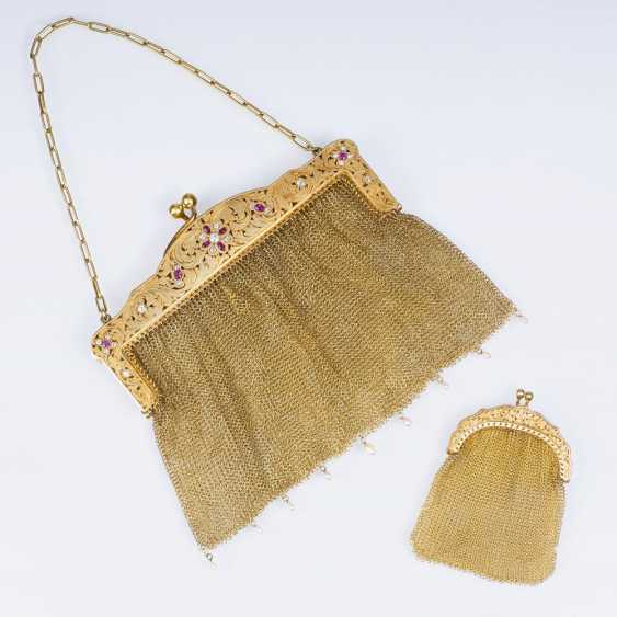 Golden Art Nouveau handbag with diamonds and rubies and a small wallet - photo 1