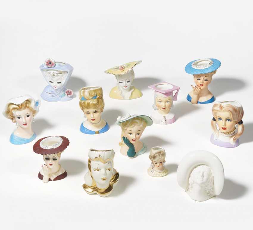 Twelve porcelain head vases for young women - photo 1
