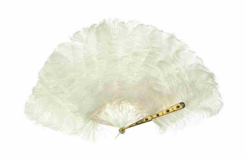 Feather fan with white ostrich feathers - photo 1