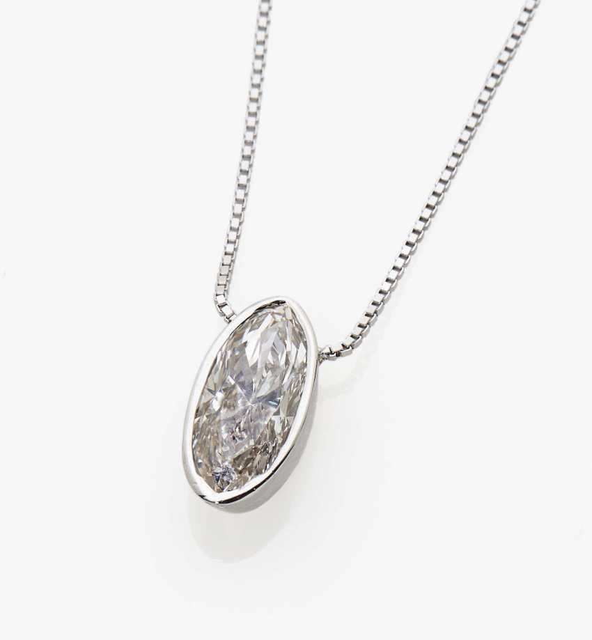 Pendant chain with a solitaire diamond in marquise cut - photo 1
