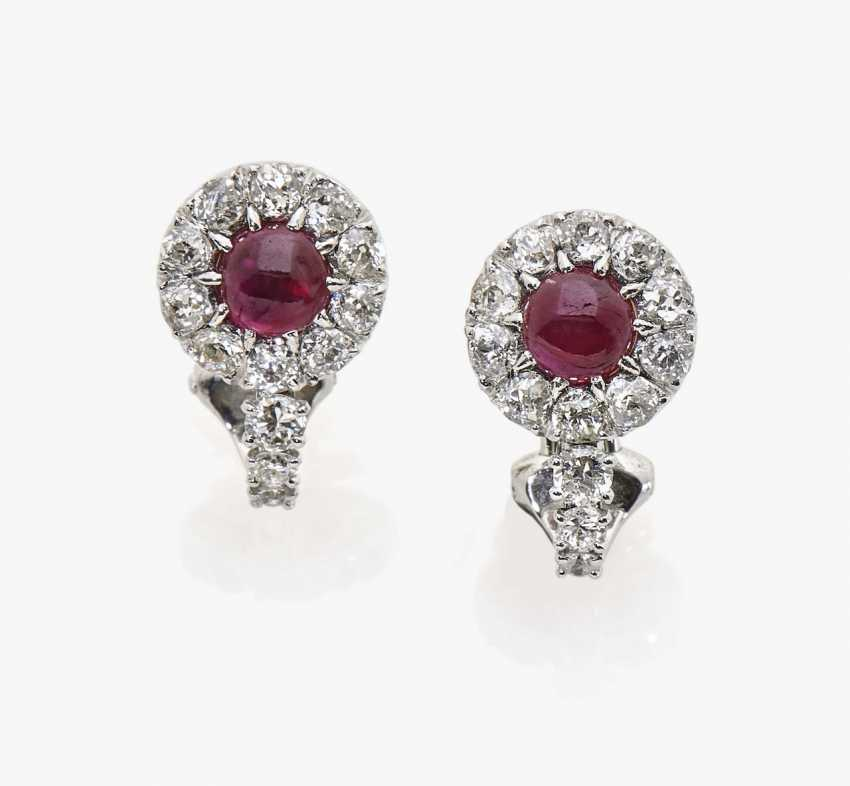 A pair of diamond and ruby clip earrings - photo 1