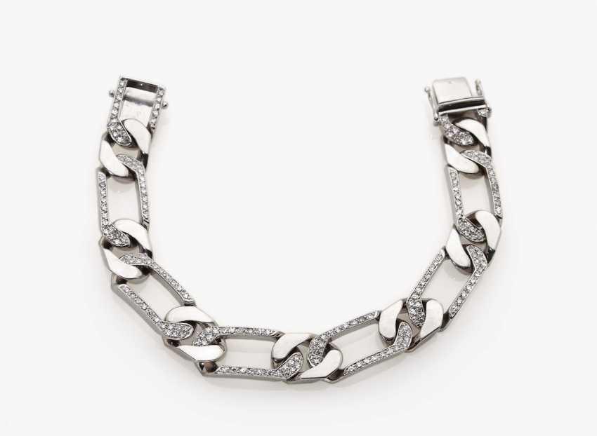 Classic flat armor bracelet with diamonds - photo 1
