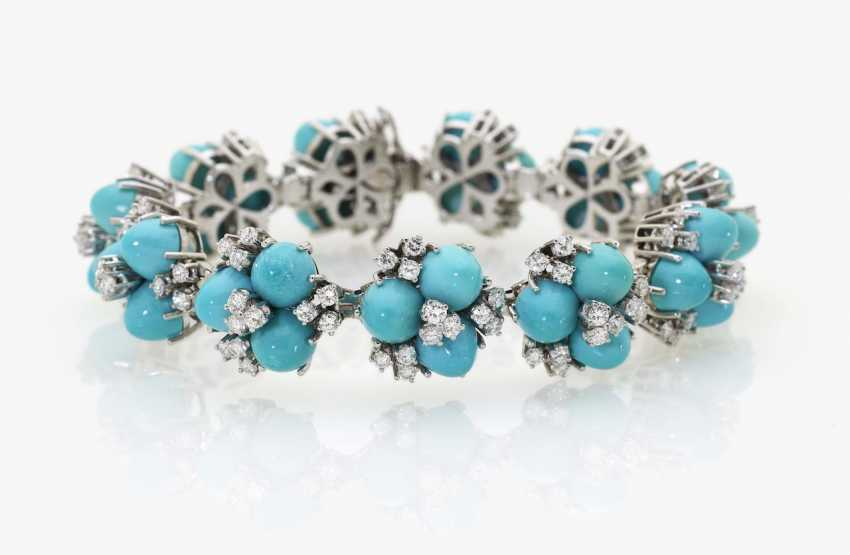 Cocktail bracelet with diamonds and turquoise - photo 1