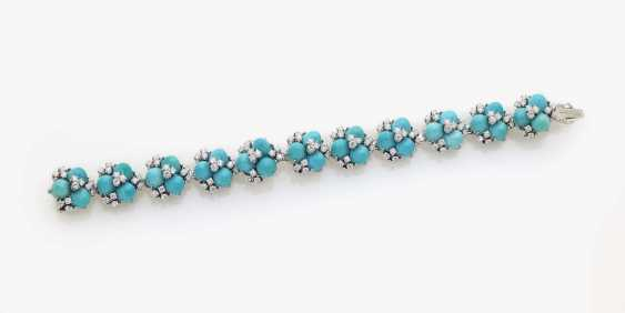 Cocktail bracelet with diamonds and turquoise - photo 2