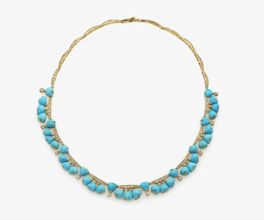 Turquoise and diamond necklace - photo 1