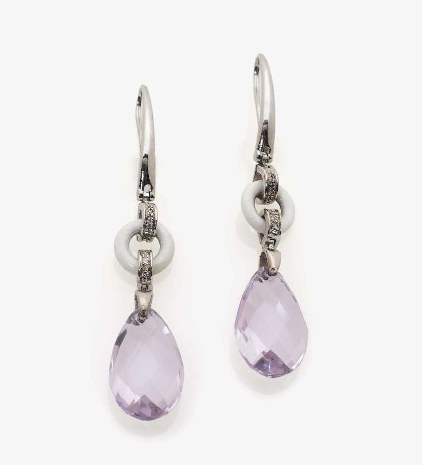 A pair of stud earrings with white agate, diamonds and amethyst drops - photo 1