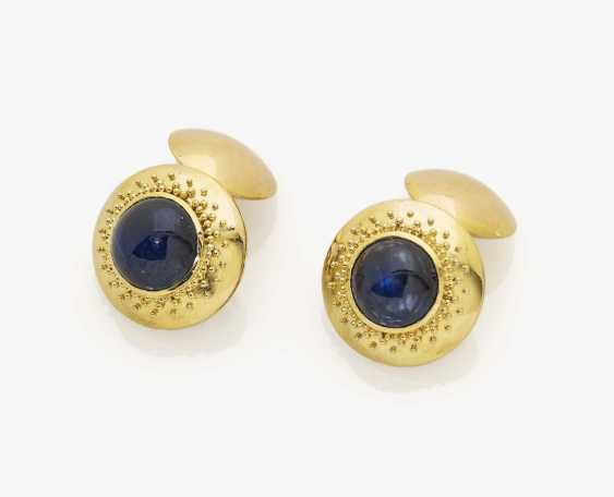 A pair of cufflinks with sapphires - photo 1