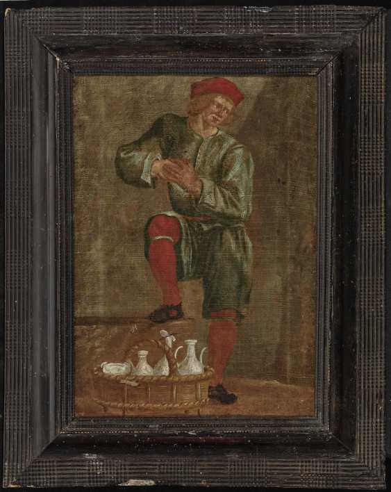 Man with a straw basket and vessels - photo 2
