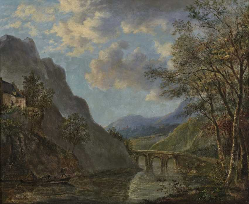 Mountainous river landscape with a stone bridge - photo 1