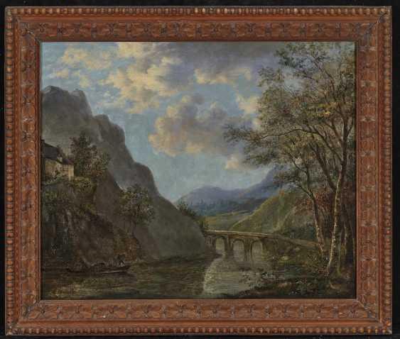 Mountainous river landscape with a stone bridge - photo 2