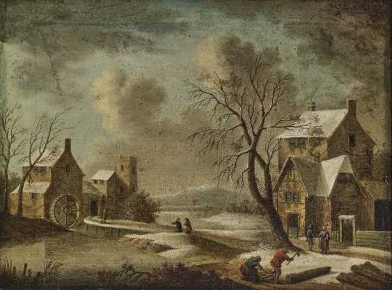 Wintry village landscape with a mill - photo 1