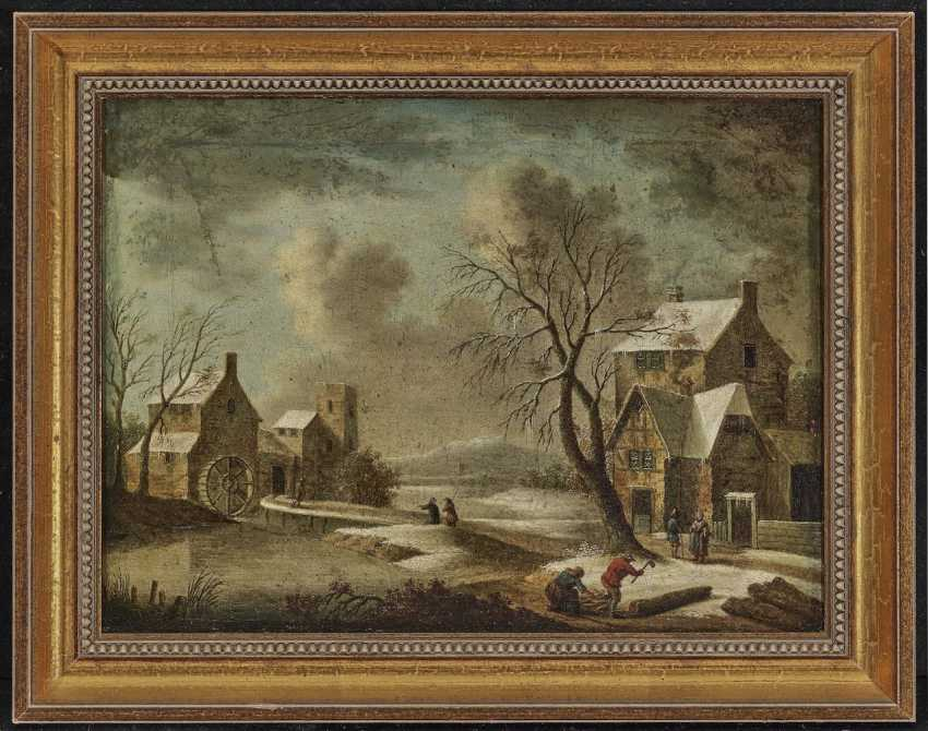 Wintry village landscape with a mill - photo 2
