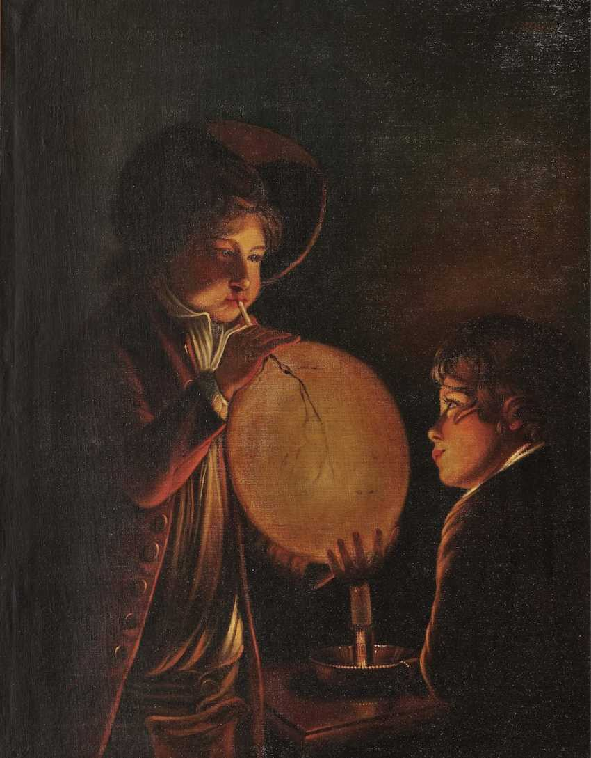 Town children with balloon in candlelight - photo 1
