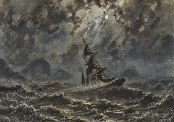 Sailboat on stormy seas under a full moon - photo 1