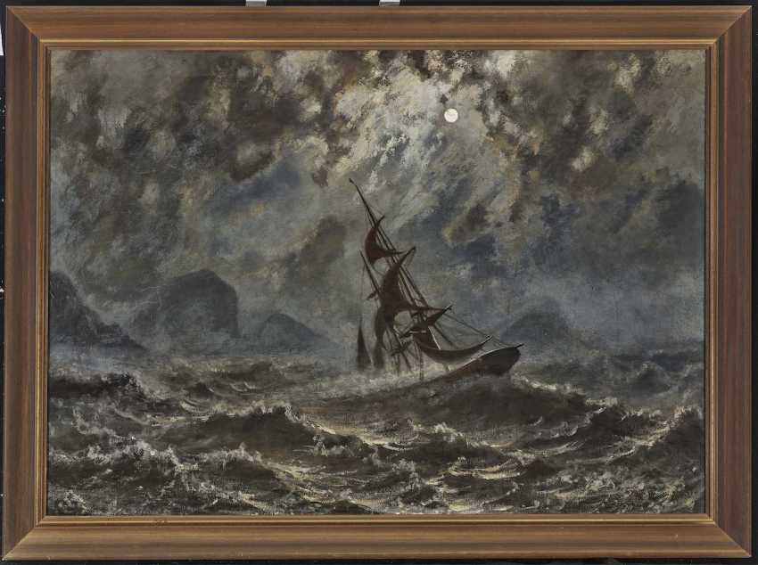 Sailboat on stormy seas under a full moon - photo 2