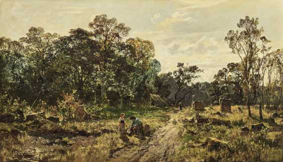 Forest landscape with resting forest worker - photo 1