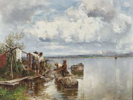 Fishermen with nets on the banks of the Chiemsee - photo 1
