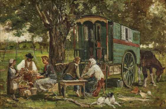 Camp family with covered wagon - photo 1