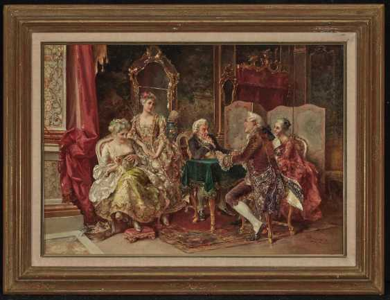 Rococo interior with card players - photo 2