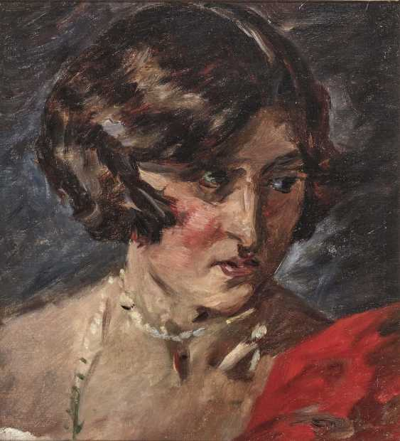 Portrait of a woman in a red dress - photo 1