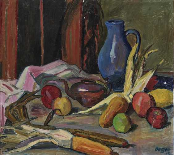 Still life with a blue jug and fruits - photo 1