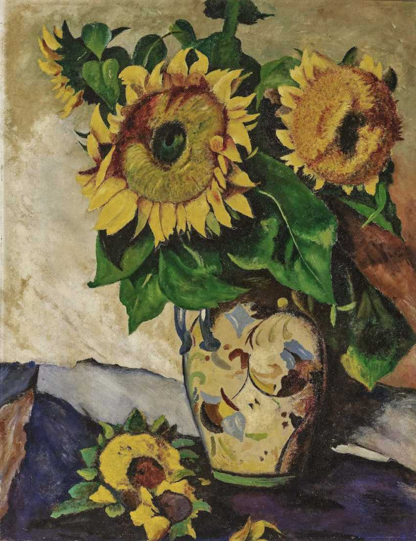 Sunflowers in a painted vase with double handles. Around 1926 - photo 1