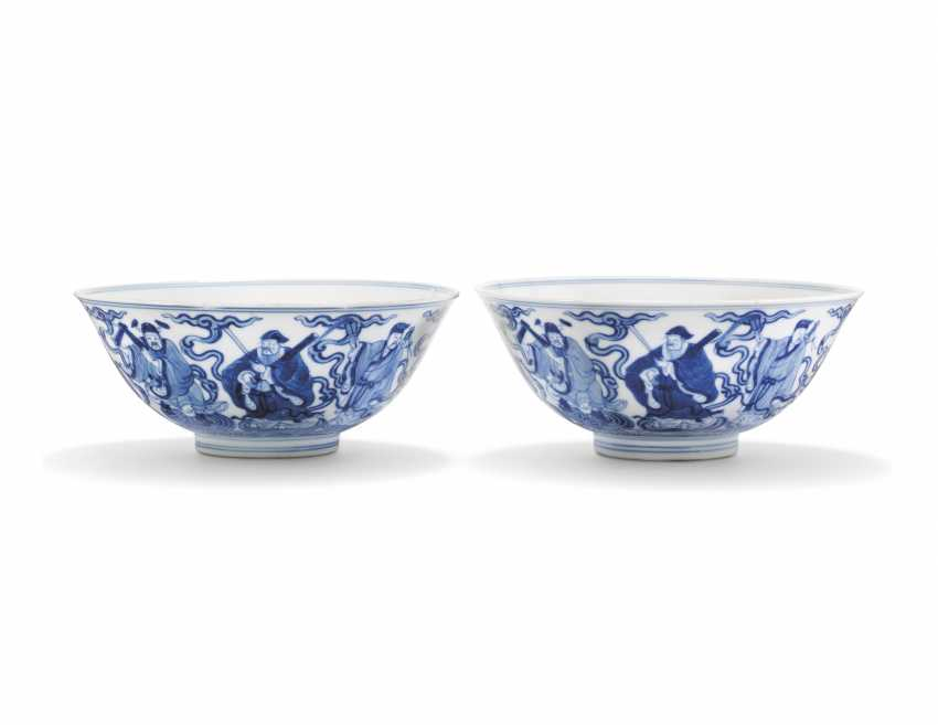TWO CHINESE BLUE AND WHITE 'EIGHT IMMORTALS' BOWLS - photo 1