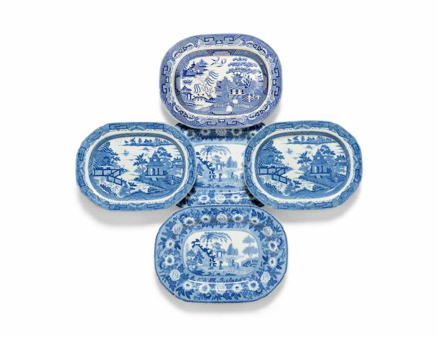 OLIVER MESSEL'S BLUE AND WHITE PLATTERS FROM MADDOX, BARBADOS:FIVE ENGLISH BLUE AND WHITE PLATTERS - photo 1