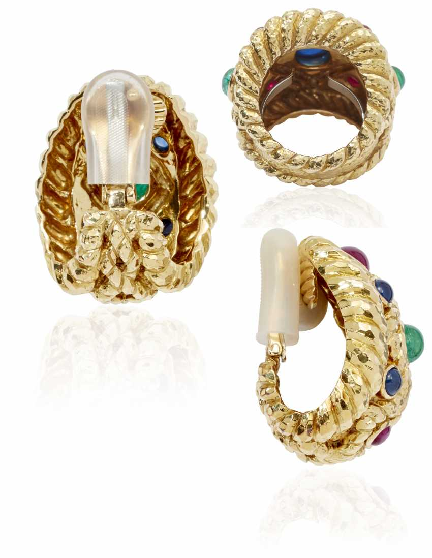 DAVID WEBB MULTI-GEM AND GOLD RING AND EARRINGS - photo 2