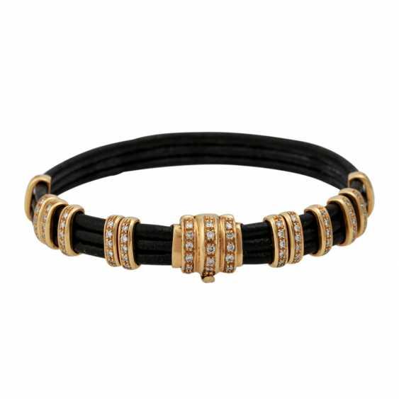 Leather bracelet with diamond-set gold elements, - photo 1