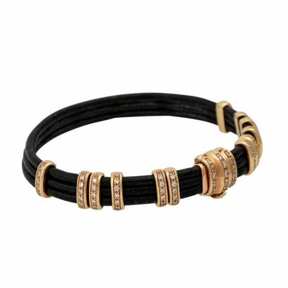Leather bracelet with diamond-set gold elements, - photo 2