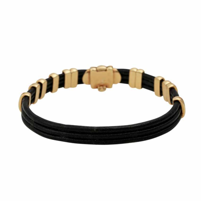 Leather bracelet with diamond-set gold elements, - photo 3
