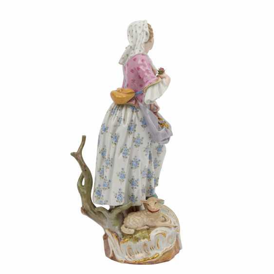 "MEISSEN ""Shepherdess with lamb"", 1860-1924. - photo 4"