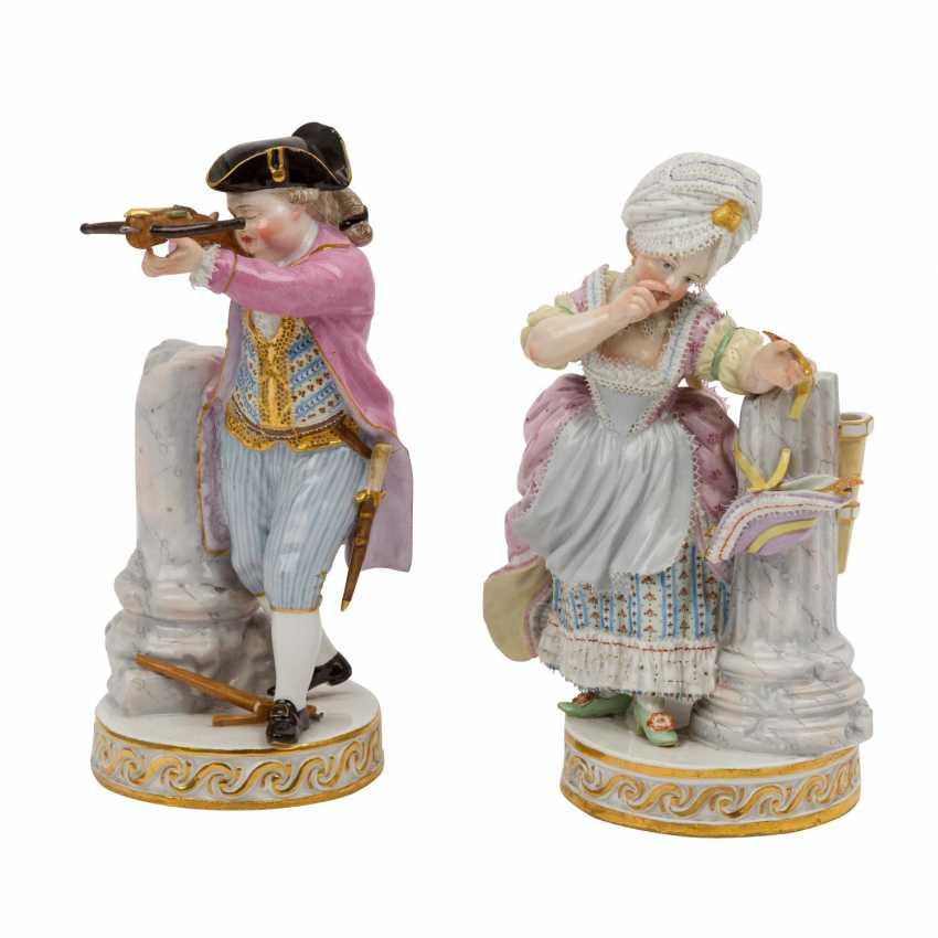 """MEISSEN pair of figures """"Das Herzenschießen"""", 1860-1924. - photo 1"""