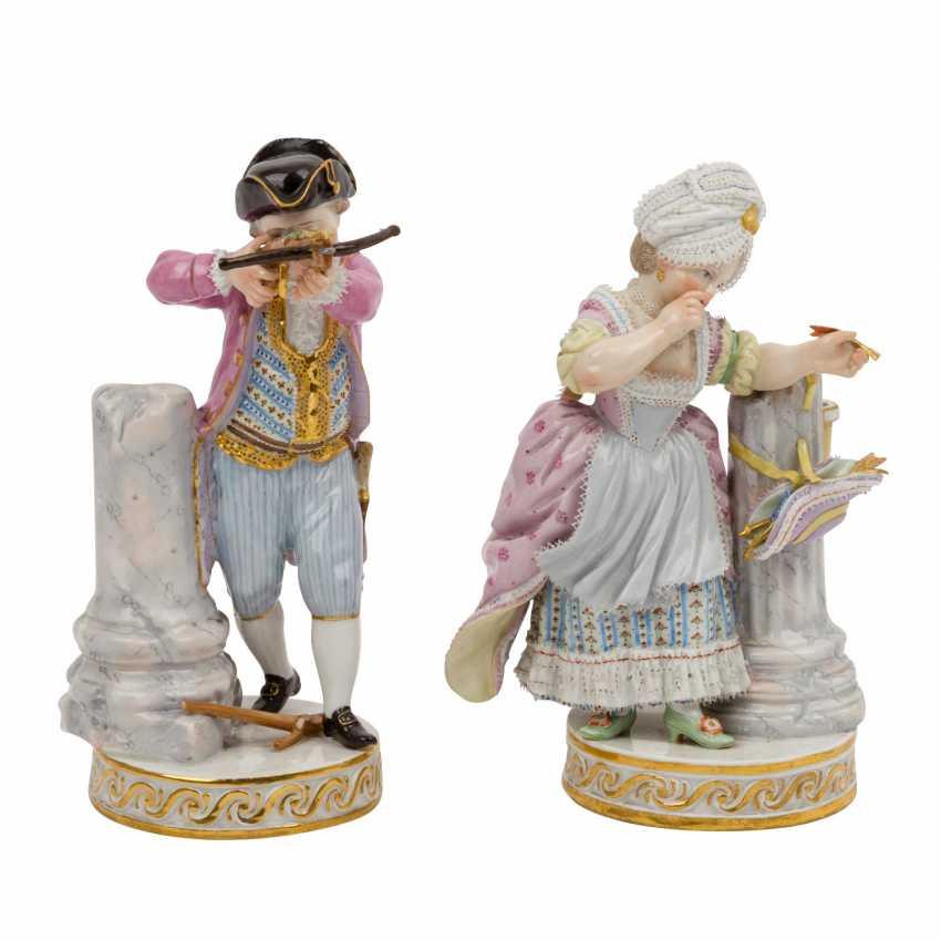 """MEISSEN pair of figures """"Das Herzenschießen"""", 1860-1924. - photo 5"""