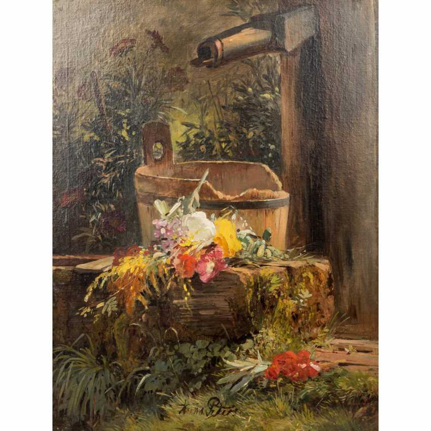 PETERS, ANNA (Mannheim 1843-1926 Stuttgart), 'Flowers at the garden fountain', - photo 1