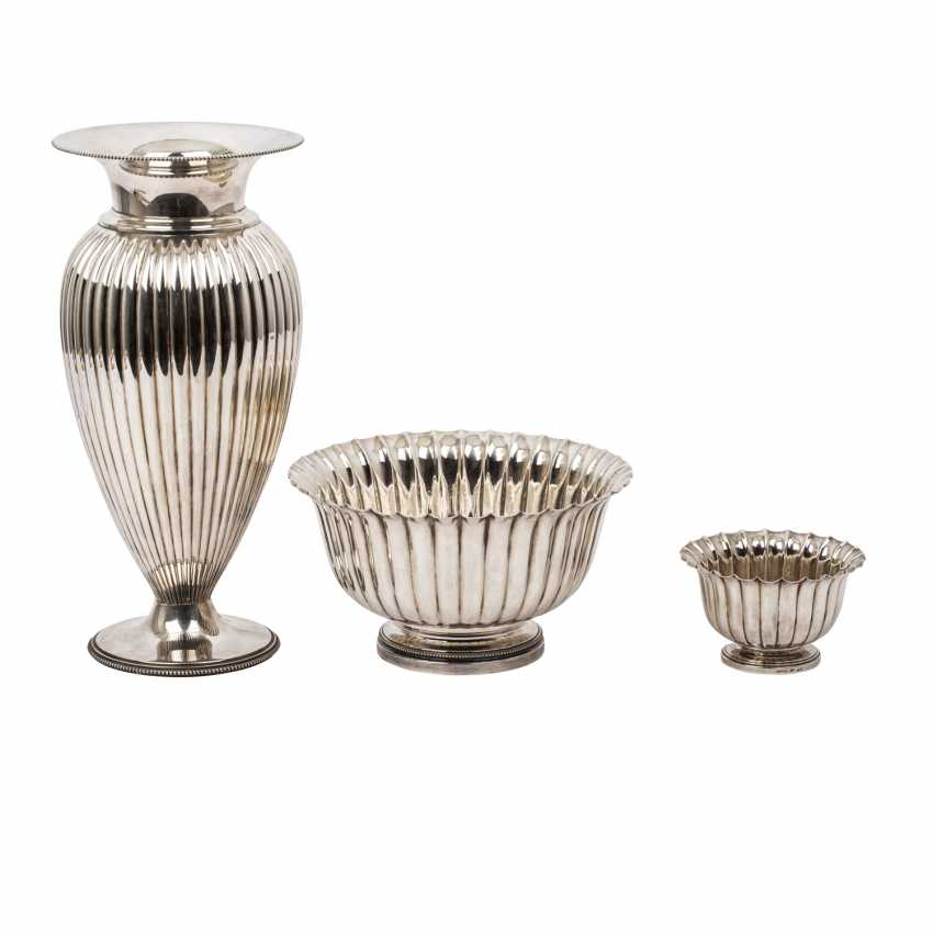 PAMPALONI two silver bowls and a vase, 20th / 21st century, Italy, - photo 1