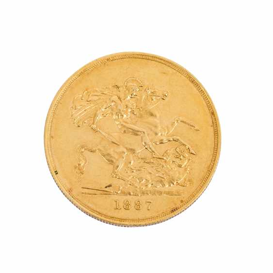 GB / GOLD - Rare 5 pound piece 1887 - photo 2