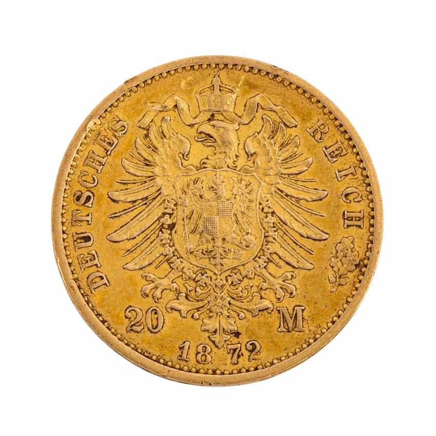 German Empire / Prussia - 20 Mark 1872 / B, Wilhelm I, - photo 2