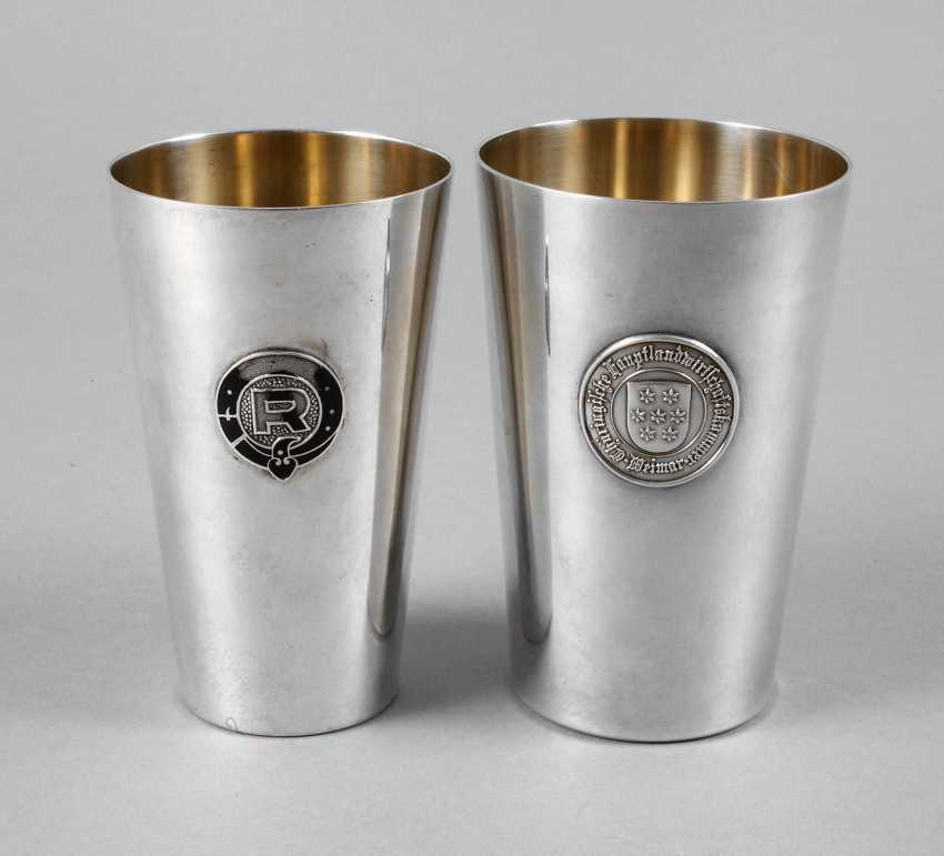 Two Silver Cups With Advertising Emblem Auction Catalog