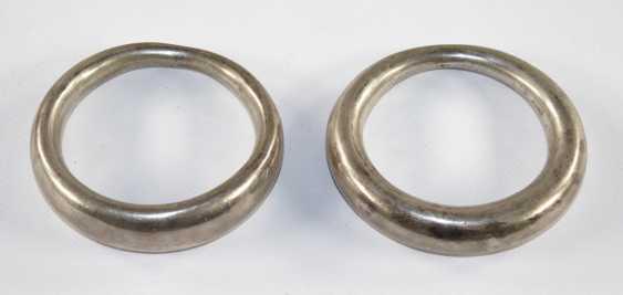 Silver bangles, pair, - photo 1